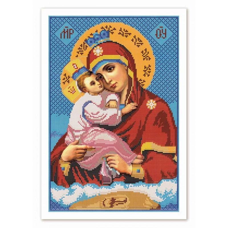 """Nova Sloboda - Ткань со схемой для вышивки иконы бисером """"Христос Спаситель"""" / фото №2850"""
