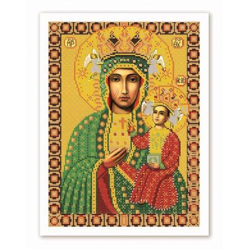 """Ткань со схемой для вышивки иконы бисером """"Богородица Ченстоховская"""""""