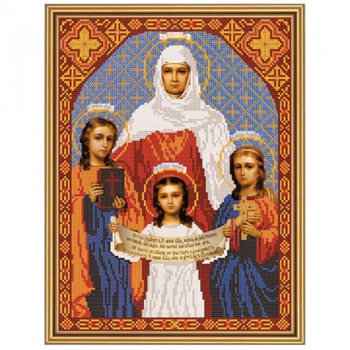 """Ткань со схемой для вышивки иконы бисером """"Свв. Вера, Надежда, Любовь и мать их София"""""""