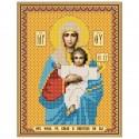 """Тканина зi схемою для вишивки ікони бiсером """"Богородиця Леушинська"""""""