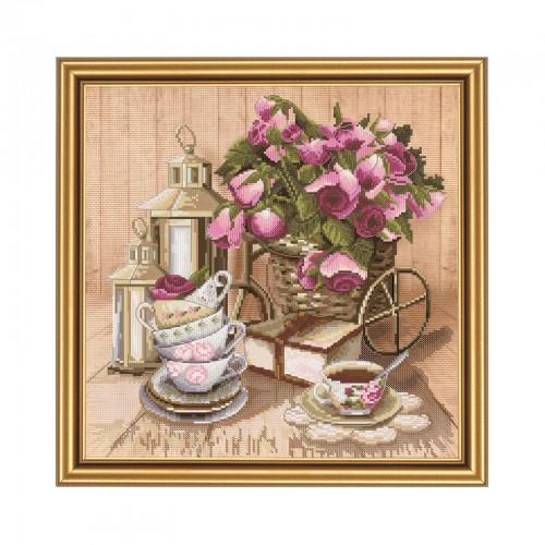 """Набор для вышивки нитками на канве с нанесенным фоновым изображением """"Ароматный чай"""""""