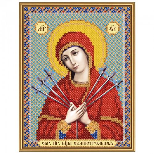 """Ткань со схемой для вышивки иконы бисером """"Богородица «Семистрельная»"""""""