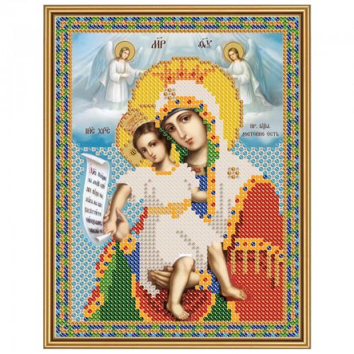 """Ткань со схемой для вышивки иконы бисером """"Богородица «Достойно Есть»"""
