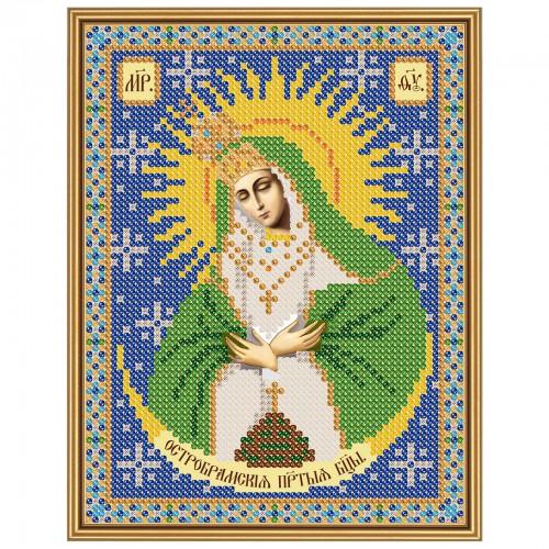 """Ткань со схемой для вышивки иконы бисером """"Богородица Остробрамская"""""""