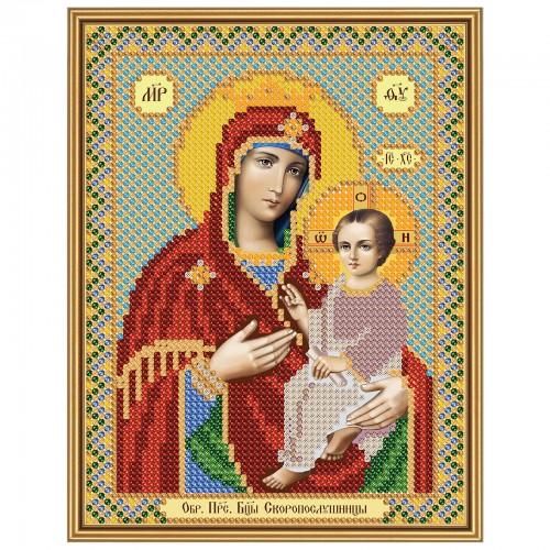 """Ткань со схемой для вышивки иконы бисером """"Богородица «Скоропослушница»"""""""