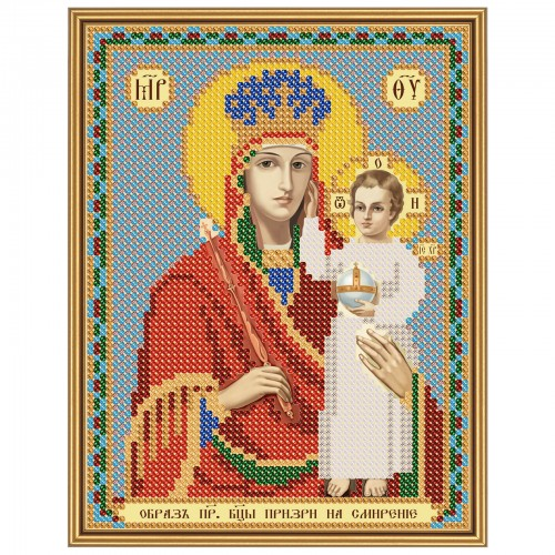 """Ткань со схемой для вышивки иконы бисером """"Богородица «Призри на смирение»"""""""