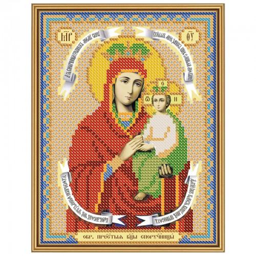"""Ткань со схемой для вышивки иконы бисером """"Богородица «Споручница грешных»"""""""