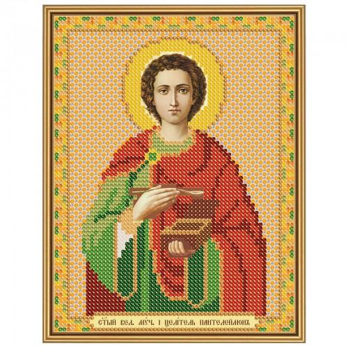 """Ткань со схемой для вышивки иконы бисером """"Св. Вмч. Целитель Пантелеимон"""""""