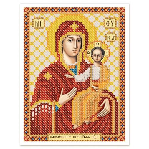 """Ткань со схемой для вышивки иконы бисером """"Богородица Смоленская"""