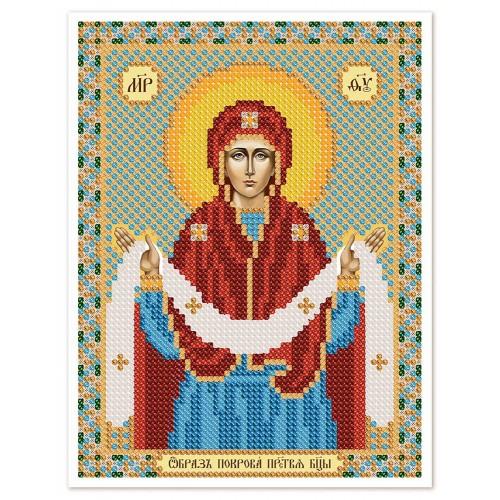 """Ткань со схемой для вышивки иконы бисером """"Покров Пресвятой Богородицы"""""""