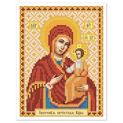 """Ткань со схемой для вышивки иконы бисером """"Богородица Иверская"""""""