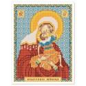 """Тканина зi схемою для вишивки ікони бiсером """"Богородиця «Взграння немовляти»"""""""