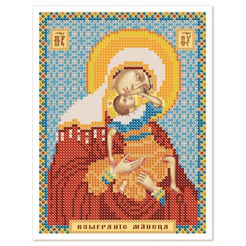 """Ткань со схемой для вышивки иконы бисером """"Богородица «Взыграние младенца»"""""""