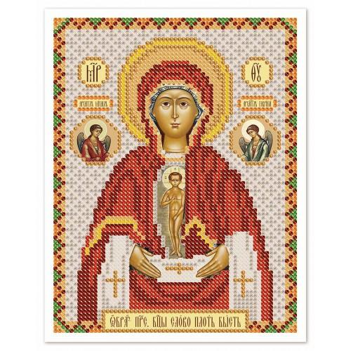 """Тканина зi схемою для вишивки ікони бiсером """"Богородиця «Слово плоть бисть»"""""""