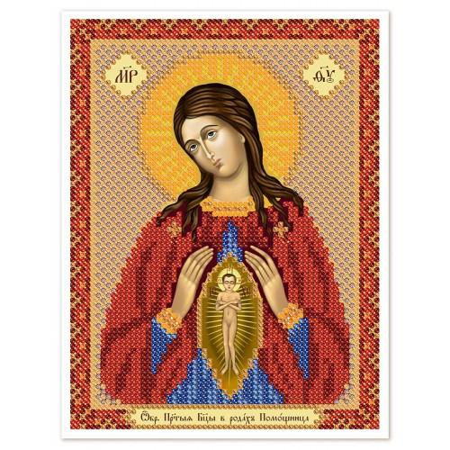 """Ткань со схемой для вышивки иконы бисером """"Богородица «Помощница в родах»"""""""