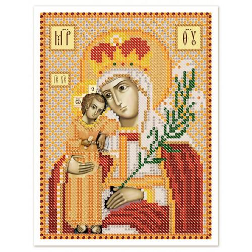"""Ткань со схемой для вышивки иконы бисером """"Богородица «Неувядаемый цвет»"""""""