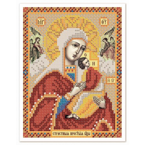 """Ткань со схемой для вышивки иконы бисером """"Богородица «Страстная»"""""""