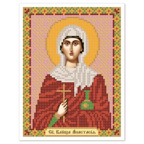 """Ткань со схемой для вышивки иконы бисером """"Св. Вмц. Анастасия Узорешительница"""""""
