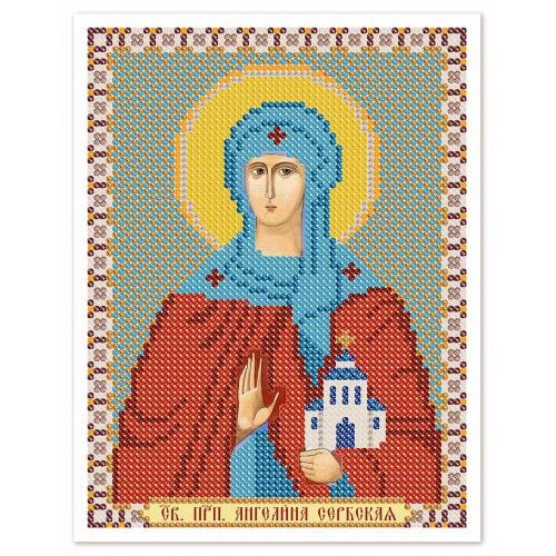 """Ткань со схемой для вышивки иконы бисером """"Св. Прп. Ангелина Сербская"""""""