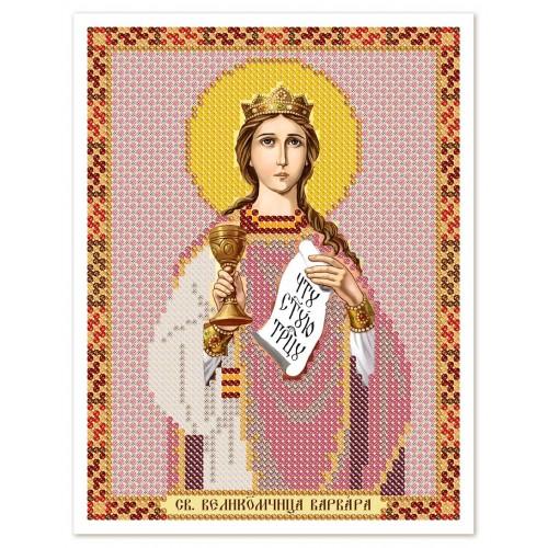 """Ткань со схемой для вышивки иконы бисером """"Св. Вмц. Варвара Илиопольская"""""""