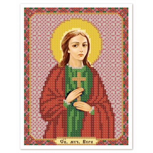 """Ткань со схемой для вышивки иконы бисером """"Св. Мц. Вера"""""""