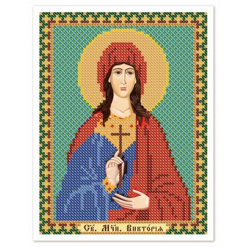 """Ткань со схемой для вышивки иконы бисером """"Св. Мц. Виктория (Ника) Коринфская"""""""