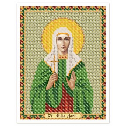 """Ткань со схемой для вышивки иконы бисером """"Св. Мц. Дарья (Дария) Римская"""""""