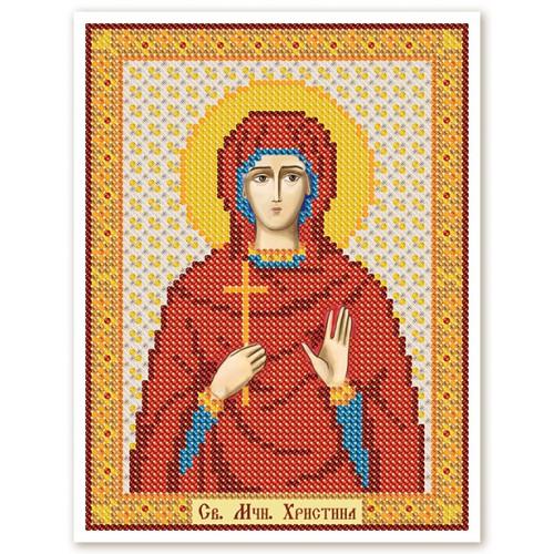 """Ткань со схемой для вышивки иконы бисером """"Св. Мц. Кристина (Христина) Тирская"""""""
