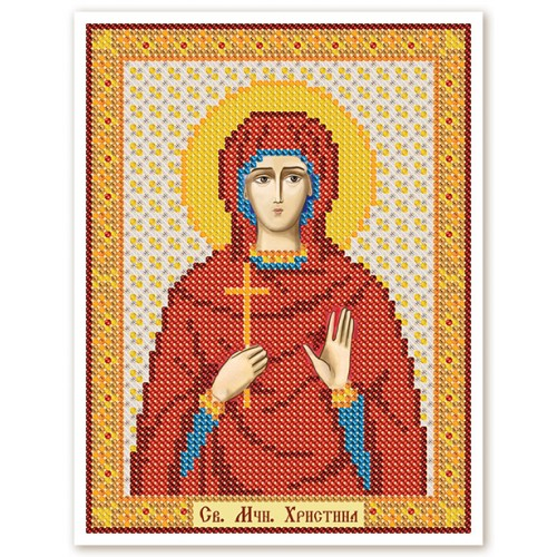 """Тканина зi схемою для вишивки ікони бiсером """"Св. Мц. Христина Тирська"""""""