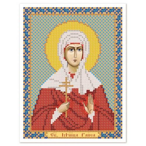 """Ткань со схемой для вышивки иконы бисером """"Св. Мц. Раиса (Ираида) Александрийская"""""""