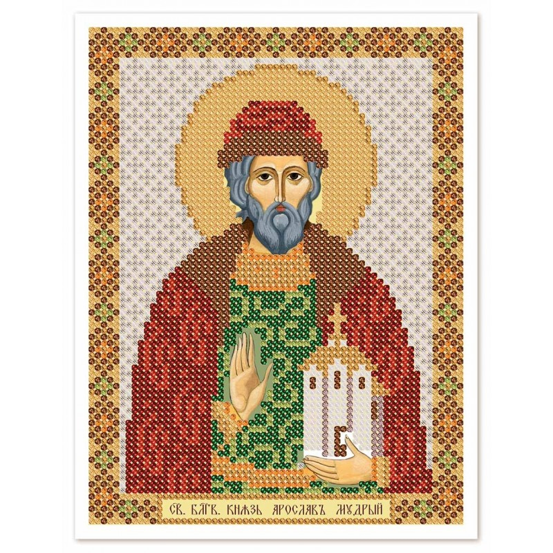 """Nova Sloboda - Ткань со схемой для вышивки иконы бисером """"Христос Спаситель"""" / фото №3088"""