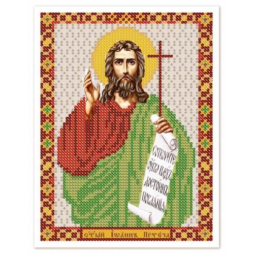 """Ткань со схемой для вышивки иконы бисером """"Св. Прор. Иоанн Предтеча"""""""