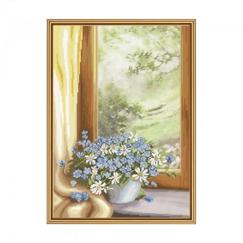 """Набір для вишивки нитками на канві з фоновим зображенням """"Квіткова фантазія"""""""