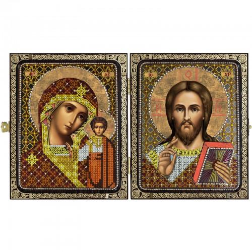 """Набор для вышивки иконы в рамке-складне """"Христос Спаситель и Пресв. Богородица Казанская"""""""