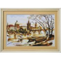 """Набір для вишивки нитками на канві з фоновим зображенням """"Прага. Карлов міст"""""""
