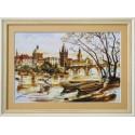 """Набор для вышивки нитками на канве с нанесенным фоновым изображением """"Прага. Карлов мост"""""""