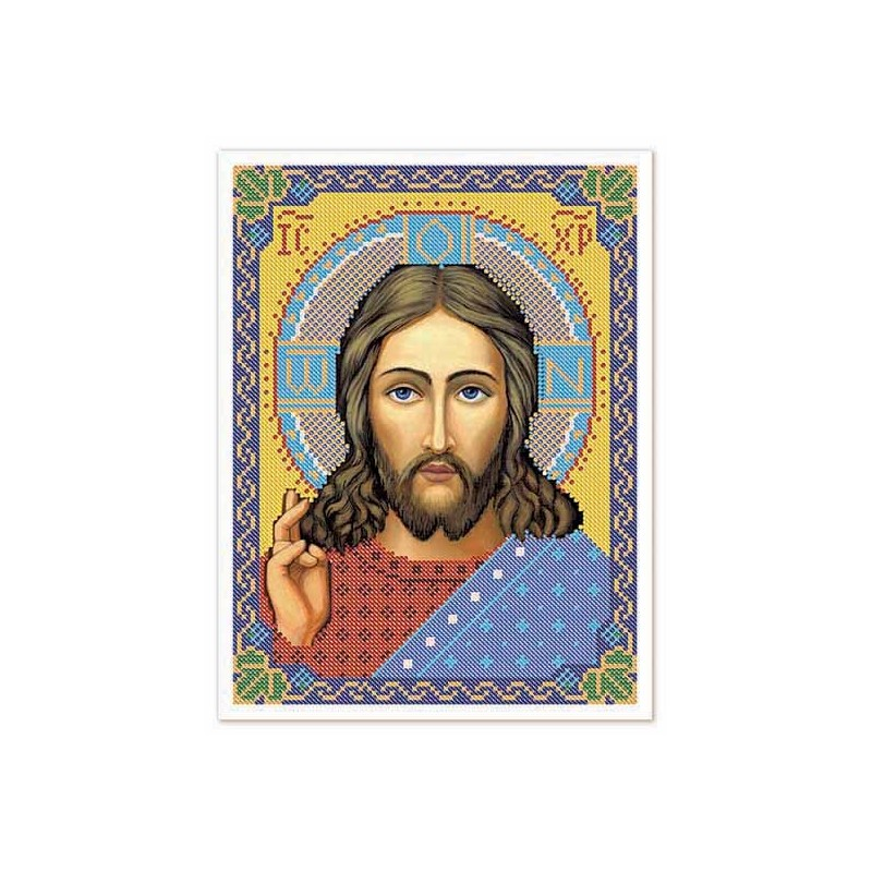 """Nova Sloboda - Тканина зi схемою для вишивки ікони бiсером """"Христос Спаситель"""" / фото №3227"""