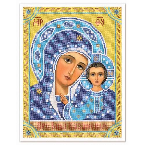 """Ткань со схемой для вышивки иконы бисером """"Богородица Казанская"""""""