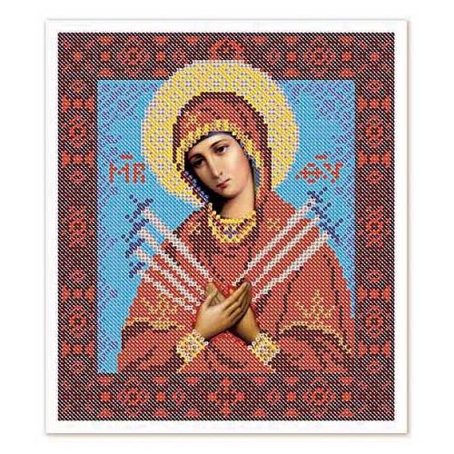 """Ткань со схемой для вышивки иконы бисером """"Богородица «Умягчение злых сердец»"""""""