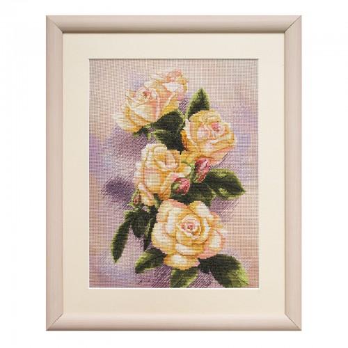 """Набір для вишивки нитками на канві з фоновим зображенням """"Чайна троянда"""""""