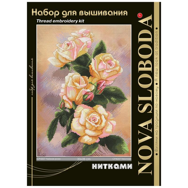 """Nova Sloboda - Набір для вишивки нитками на канві з фоновим зображенням """"Чайна троянда"""" / фото №325"""