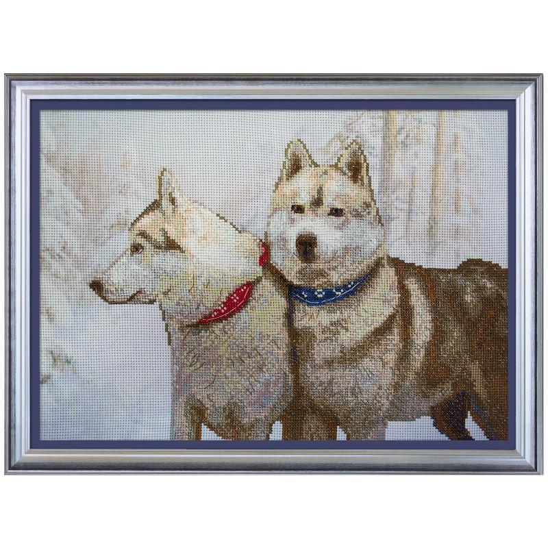 """Набор для вышивки нитками на канве с нанесенным фоновым изображением """"Снежные псы"""""""