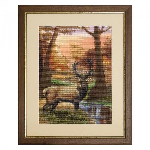 """Набор для вышивки нитками на канве с фоновым изображением """"Хранитель леса"""""""