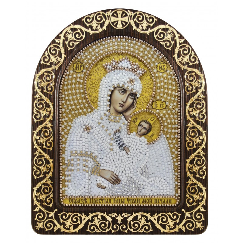 """Nova Sloboda - набір для вишивки ікони в рамці-кіоті """"Ікона Прсв. Богородиці «Утамуй моя печалі»"""" / фото №3376"""