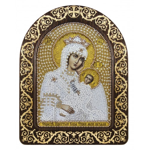 """Набір для вишивки ікони в рамці-кіоті """"Ікона Прсв. Богородиці «Утамуй моя печалі»"""""""