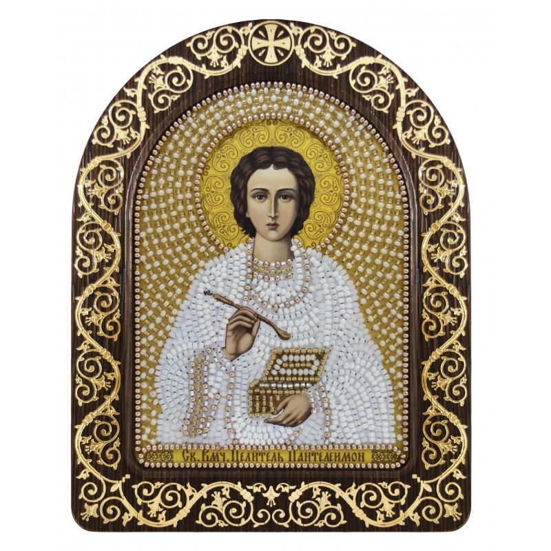 """набір для вишивки ікони в рамці-кіоті """"Ікона Прсв. Богородиці «Св. Вмч. Цілитель Пантелеймон»"""