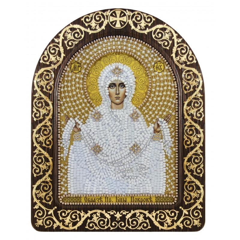 """набір для вишивки ікони в рамці-кіоті """"Ікона Прсв. Богородиці «Покров Пресвятої Богородиці»"""