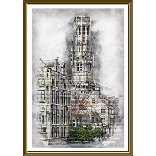 """Набір для вишивки нитками на канві з фоновим зображенням """"Бельгія. Брюгге"""""""