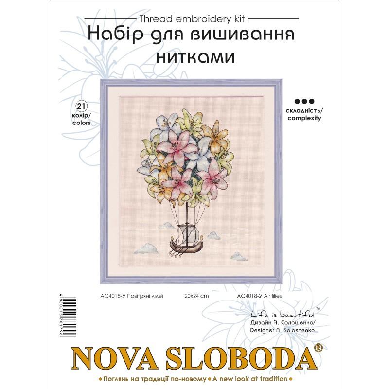 """Nova Sloboda - Набір для вишивки нитками на білій канві """"Повітряні лілеЇ"""" / фото №3562"""