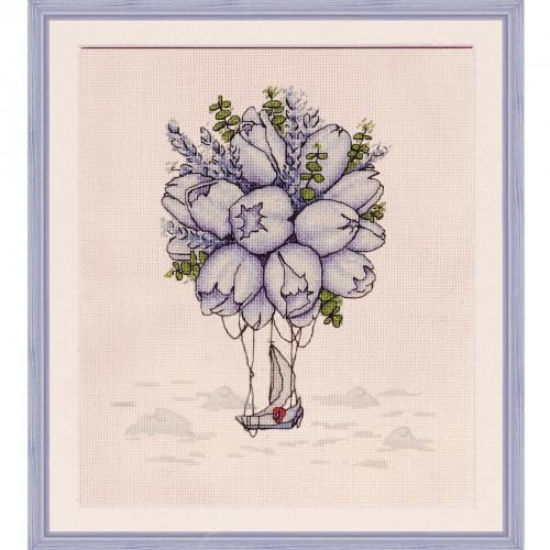 """Набор для вышивки нитками на канве с фоновым изображением """"Голубые тюльпаны"""""""